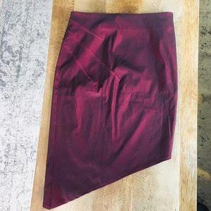 TopShop Burgundy Shiny Asymmetrical Skirt
